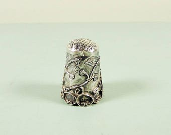 Sterling Silver Mexico Thimble - Applied Scrollwork Eagle 2 Mark