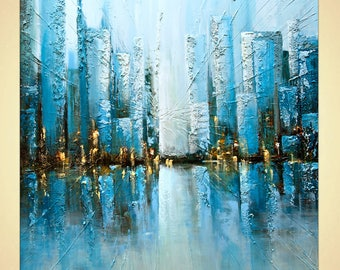 "Textured  Painting on canvas Teal Blue City Painting Palette Knife textured by Osnat Tzadok ready to ship 48"" x 48"""