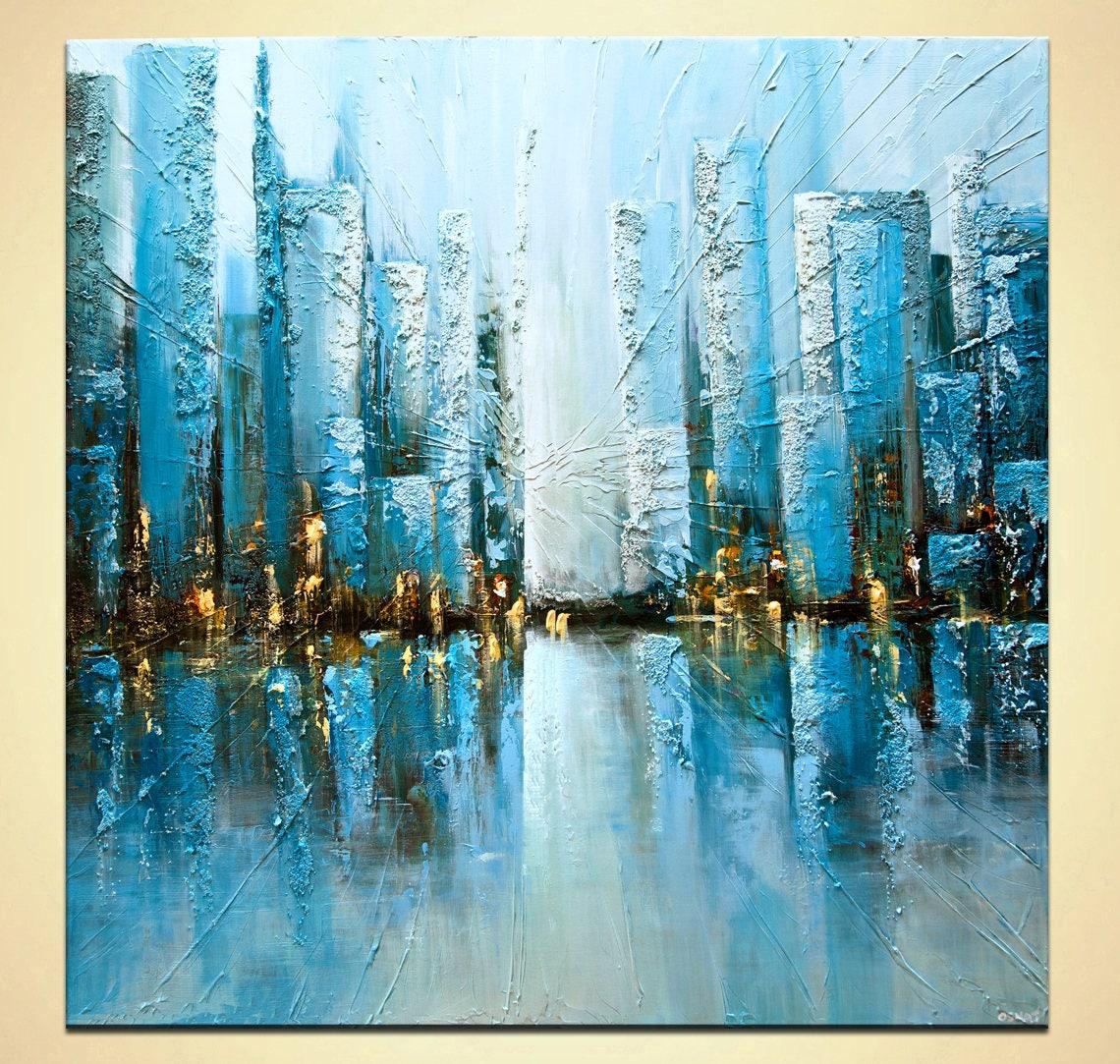 Pintura con textura sobre lienzo turquesa azul ciudad pintura - Pintura azul turquesa ...