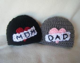 Crocheted I Love Mom/Dad Baby Hats/Beanies - Made to Order