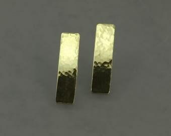 Hammered Bronze Bar Earrings, Bronze Earrings, Post Earrings, Hammered Bronze Earrings, Shiny Earrings, Gold Colored Earrings