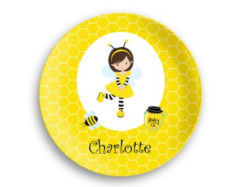 Personalized Plate  – Honey Bee Girl Yellow Honey Comb, 10 inch ThermoSaf® Polymer Plate, Kids Personalized 8.5 inch Bowl