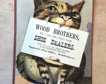 Cute Victorian Era Trade Card with Kitty Cat Holding Sign