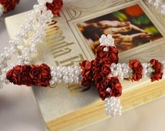 Wedding Lasso, lazo de Boda, Original and One of A Kind Piece from Casa Araiza - Elegant White Pearls With Flowers - Wedding Lazo