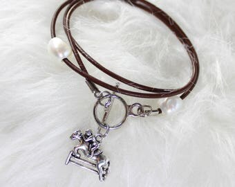 Wrap leather and pearl horse jumper bracelet
