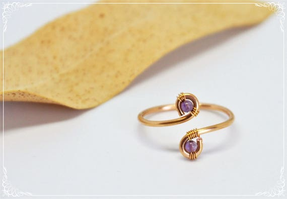 Amethyst ring Gold plated wire ring Simple Delicate Minimalist Gemstone purple Adjustable Gift for girlfriend her women Christmas gifts
