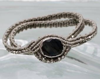 Labradorite macrame bracelet, wraparound bracelet, labradorite bracelet, for her