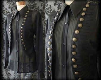Victorian Steampunk Gothic Black Military Vest