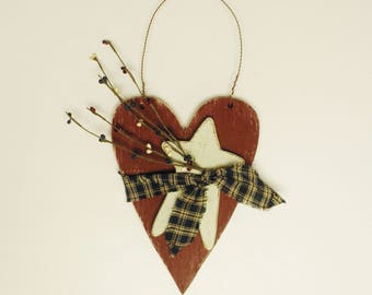Heart Hanger, Patriotic Red White and Bue Heart Wall Decor, Primitive Wood Americana Hearts & Stars Accent