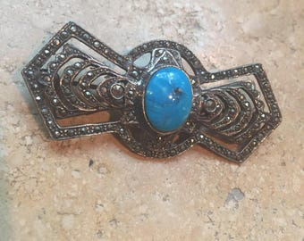 Vintage Silver and Turquoise Brooch