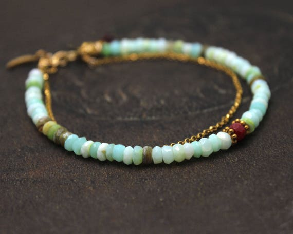 Blue Opal Beaded Bracelet. Ruby Bracelet. Stacking Bracelet. Double Strand Bracelet. Indian Summer. Aqua & Ruby. B2413.