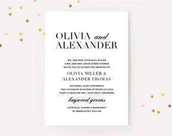 Portrait wedding invitation Etsy