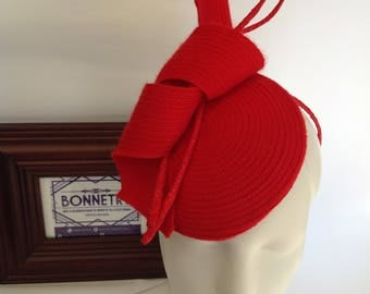 Red braid hat with coil and quills