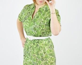 SUMMER SALE Vintage 60's Saks Fifth Avenue Green  Short Sleeve Day Dress - Front Zip Casual Summer Sundress - Floral Frock Dress - Size Smal