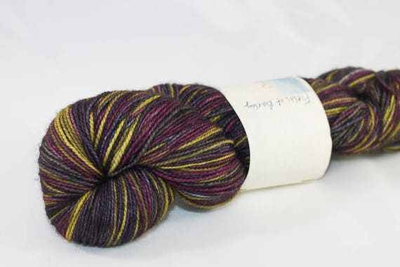 Self Striping Sock Yarn, Hand Dyed in Fields of Barley colorway