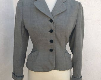 Vintage Wounded Bird mid century blazer textured gray fabric black buttons pockets sz S