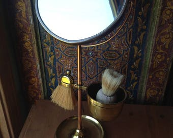 Shaving Mirror on Stand, With shaving cup and brushes, brass and copper,