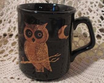 Vintage Black and Gold Couroc Owl Mug