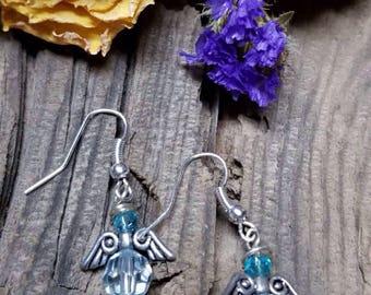 Angel Blue crystal earrings.