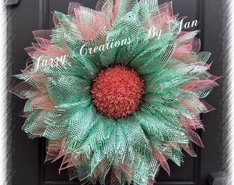 Deco Mesh Nautical Flower Nautical Deco mesh flower wreath