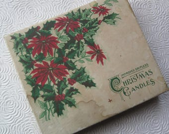 Vintage Christmas Box Poinsettia Antique Christmas Gift Box Holly 4 x 5 Victorian Edwardian Holiday Decor Standard Oil Promotion