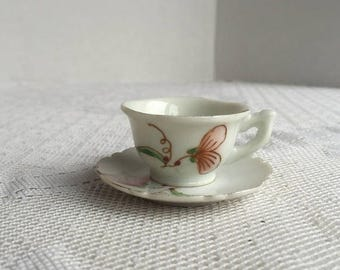 CIJ Miniature Tea Cup and Saucer Set / Vintage White and Gold Ceramic Teacup and Saucer Made in Japan