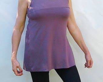 Womens tunic, women's tank, purple top, summer tunic, bamboo knit, eco friendly, curve friendly, breathable, travels well, drapes well