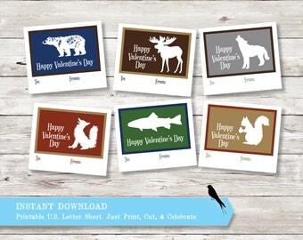 DIY Printable Valentine's Cards - Kid's School Valentines, Woodland Animal Valentine's - Print & Cut Valentines - Instant Download PDF