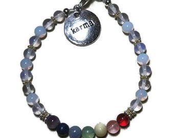 Chakra Genuine Gemstone Bracelet with 14KT Gold Filled Beads And Sterling Silver Beads Opalite Beads  Karma  Charm Meditation Yoga Spiritual