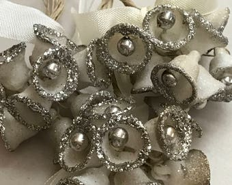 Bells Christmas Millinery Corsage Gold Glitter Silver Glitter White Chrismtas Vintage Stock French Christmas