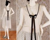 1920 flapper cotton dress batiste embroidery Gatsby Art Deco size S (UK 10 12)