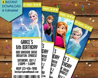 Frozen Birthday Invitation, Frozen Invitation, Elsa Invitation, Elsa Birthday Invitation, Frozen Birthday Invite, Frozen Party, Disney