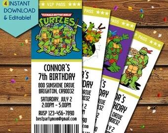 Ninja Turtles Invitations, Teenage Mutant Ninja Turtles Invitations, TMNT Invitations, Ninja Turtles Birthday Invitation,TMNT Birthday