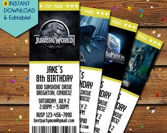Jurassic World Invitations, Jurassic World Movie Invitation, Jurassic World Birthday Invitation, Jurassic World Party Invite