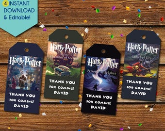 Harry Potter Thank You Tags, Harry Potter Party Favors, Harry Potter Favor Tags, Harry Potter Birthday Tags, Harry Potter Gift Tags