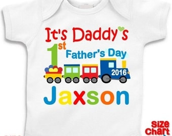 SALE Personalized Baby Little Boy It's Daddy's 1st First Father's Day 2016 Choo Choo Train Heart T-shirt Shirt Bodysuit