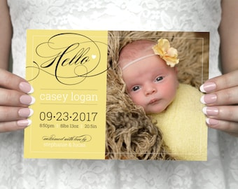 DIY printable unique, script photo baby announcement postcard - Casey