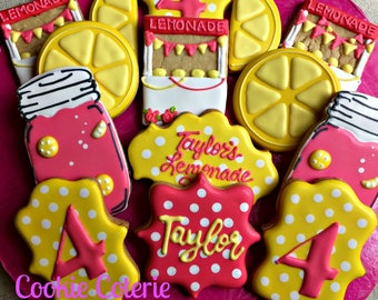 Lemonade Stand Themed Birthday Party Decorated Cookie Favors One Dozen