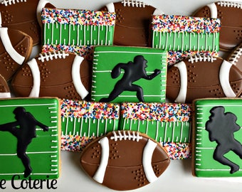 Football Team Decorated Cookies Birthday Party Cookie Favors One Dozen