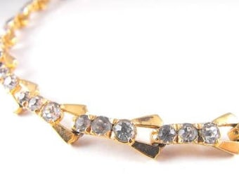 Signed Mazer Necklace Articulated Choker Golden Rhodium Plate Clear Rhinestone Vintage Beauty