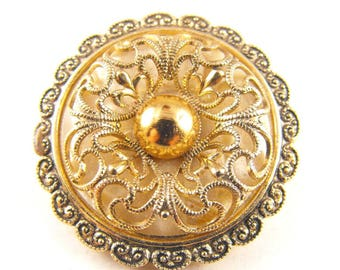 Vintage Scarf Clip Pretty Scrolling Cut Away Rococo Design Golden Hues Signed W. Germany Bridal Bridesmaid Mother of the Bride Gifts