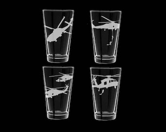 MH-60 Seahawk set of 4 pint glasses US Navy helo sar tandem fast roper