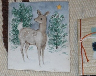 three vintage hand painted greeting cards