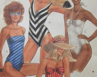 McCall's 8564 Misses One-Piece Swimsuits Sewing Pattern, Strapless And French Cut, 10-12-14, UNCUT
