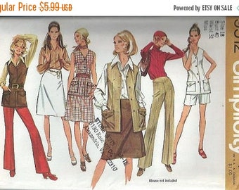 ON SALE VTG Misses Pants in Two Lengths, Vest and Skirt Pattern, Simplicity 9512, Size 18 Uncut