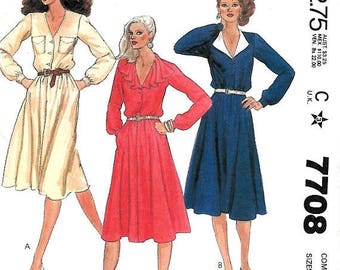 ON SALE McCall's 7708 Misses Slightly Flared Half Size Dress Pattern, 16 1/2-20 1/2 And 20 1/2- 24 1/2, UNCUT