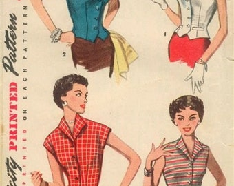 1953 Simplicity 4533 Misses Weskit Blouse Sewing Pattern, Bust 30