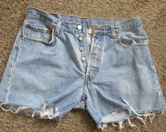 Levi's 501 Vintage Button-Fly CUTOFF JEAN SHORTS size W 34 Measured High Waist Grunge levis