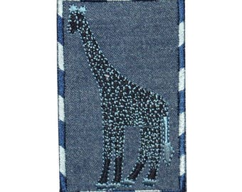 ID 0767 Giraffe On Denim Patch Zoo Badge Portrait Embroidered Iron On Applique