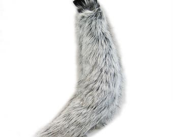 Pawstar Mini WOLF Tail - Realistic Plush Costume fox Animal cosplay furry Dog Green Lime Pink Red blue purple brown White Gray 3607